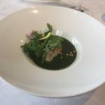 リストランティーノ ルベロ - ★6.5里芋のポレンタ 有機春菊のソース