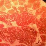 だるま - 牛豚しゃぶしゃぶおこげ粥付 1500円 の牛豚しゃぶ肉