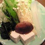 だるま - 牛豚しゃぶしゃぶおこげ粥付 1500円 の野菜