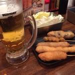 串かつじゃんじゃん - 串カツ盛り合わせ&ビール(H28.12.10)