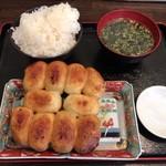 ホワイト餃子 - 焼餃子セット700円+ご飯大盛50円