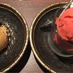 とびうし - 左)キャラメルジェラート、右)苺シャーベット