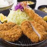 すずや - メンチかつとヒレかつと海老フライの盛り合せ定食