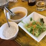 61327824 - 【2016年12月】ランチセットのサラダ、スープ、デザート、スープの「トムヤンクン」が旨い!
