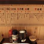 八五郎 - 卓上風景 それと串カツメニュー一覧