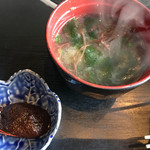 鷹山公 - (2017-1-17) 石焼ビビンパの「辛みそ」と「みそ汁」