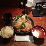播鳥 - チキンカツ定食-おろしポン酢800円ご飯、味噌汁おかわり自由