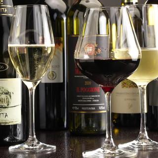 常時50種を超えるイタリアワイン