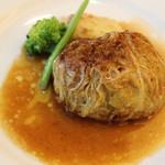 フレンチレストラン カザマ - 料理写真:フォアグラ入り和牛100%ハンバーグ・ステーキのキャベツ包み焼き