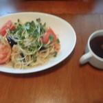 ハンバーグレストラン葦 - 帆立と野菜のガーリックパスタ