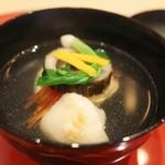 祇園 淺田屋 - 椀 帆立真薯 焼き餅 堀川牛蒡 金時人参 間引き菜