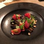 organ - 2017.01.14  テーブルで完成する「穴子スモークのフリットと茄子、トマト、葉野菜のサラダ」①