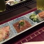 四季の蔵 右近 - ◆前菜 焼き穴子寿司 ブラックスパニッシュラディッシュのそぼろあんかけ 菜の花サラダ 鰆の南蛮酢