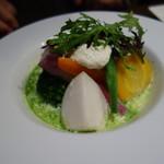 61387228 - 鎌倉野菜の庭園風バジルスープ仕立て