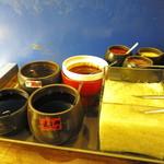 盛園絲瓜小籠湯包 - 奥の「赤い系」はかなり辛いですw