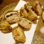 楽从 - 姫椎茸とつくねのはさみ揚げ
