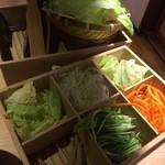 しゃぶしゃぶ 温野菜 - 久々に行ったら野菜の箱が新しくなっていました