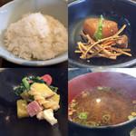 えごま - 小鉢とご飯、お味噌汁