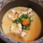 高鮨 - タラの白子の茶わん蒸し(ポン酢)。