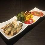 61456769 - お疲れさまセット(エリンギガーリックバター、本気のカボチャサラダ、野菜のトマト煮込み)