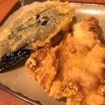 香の川製麺 - 茄子天 80yen&とり天 140yen