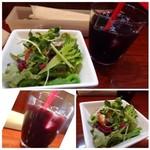 ヴェルドゥーラ - ◆最初に「サラダ」と「ドリンク」が出されます。◆サラダは数種類のお野菜が盛られ、自家製ドレッシングがいいお味