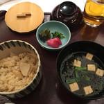 Happouembanketto - 留椀(豆腐、焼岩海苔の合せ味噌仕立て)、御食事(筍ご飯)】