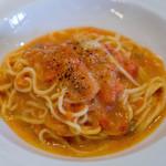 オステリア・ルッカ - お店一押しのフレッシュトマトとゴルゴンゾーラのタリオリーニ 濃厚で好きな味でした(*^^*)