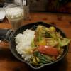 キャンプエクスプレス - 料理写真:一日分の野菜カレー、ラッシー