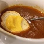ルミエール デュ ソレイユ - スープにクルトンを浮かべたところ