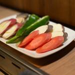 焼肉 稲田 - 季節の焼き野菜盛り合わせ