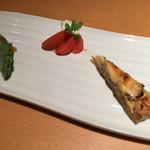 甚九郎 - コース二皿目。クレソンの春巻、フルーツトマトとマスカルポーネ、キッシュ