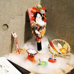 日本料理 太月 - 店内、かわいい正月バージョン