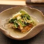 麻布十番 ふくだ - 根室産キンキの塩焼きと水菜のあつ浸し