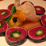 61526419 - マグロの天ぷらロール 柚子味噌ソース