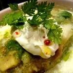 ラザーニャ・ラザーニャ - 海老とマッシュルーム、アボカドのジェノベーゼソースラザーニャ マスカルポーネチーズ添え