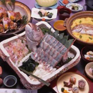 明石の新鮮な魚貝を使った会席料理が自慢の老舗料亭