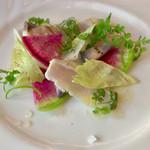 高田馬場 イタリア料理 フラットリア - 前菜:グリルしたサワラのカルパッチョ仕立て(+300円)