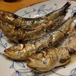 天史朗寿司 - 真鰯の干物 酢をかけて頂きます 絶品です!