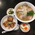 喜多方ラーメン坂内・小法師 - 青唐うま塩ラーメンセット