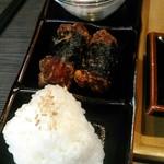 61543622 - ランチセット(替え米、揚げ物、ミニサラダ)100円