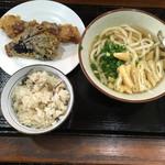 61546632 - かけうどん、竹輪と茄子の天ぷら、いりこ飯('17/01/22)