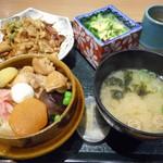 群馬の台所 - 「〆の釜めし」と「上州もち豚もつ焼き(甘辛醤油ダレ)」