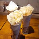 61559458 - 豆乳クリーム・イチゴ(400円)、豆乳クリーム・あずき(350円)、カスタード・キャラメル(350円)