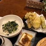 ぼっち - 野菜天ぷらと野沢菜ちりめんご飯♫2017/1