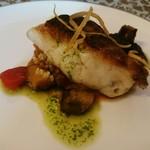 61571416 - 真鯛のソテー  有機野菜のカポナータ添え