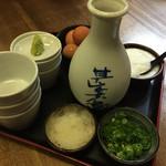 Teuchisarasobajimbee - 薬味とおつゆ。