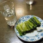 萬里 - お通しは、もちろん野沢菜(無料です。)