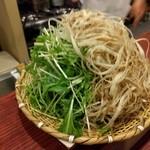 ゆうがた - サワラしゃぶしゃぶ用の野菜(ごぼう、水菜、長ネギ細切り)