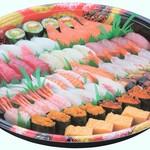 ふぁみり庵はいから亭・寿しまどか - 回転寿司では店内での飲食のほか、このようなお持ち帰りも可能です。